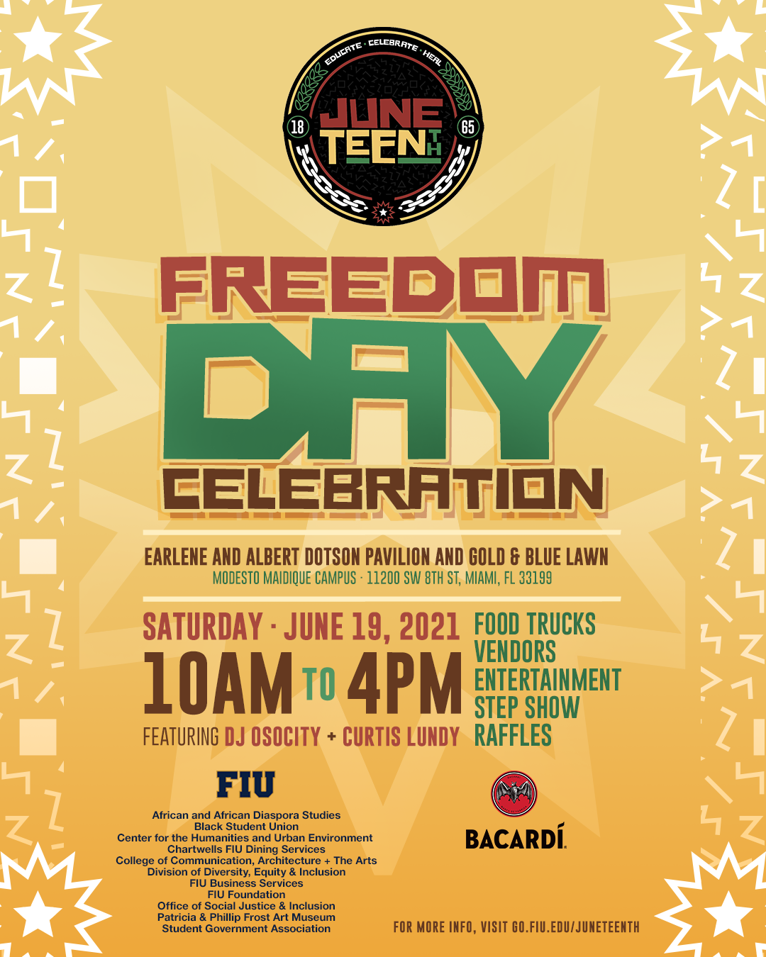flyer promoting freedom day celebration on june 19 from 10am to 3pm